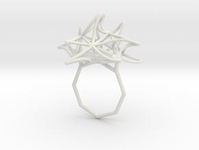 Aster Ring 9 in White Natural Versatile Plastic