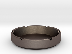 simple custom ashtray in Polished Bronzed-Silver Steel