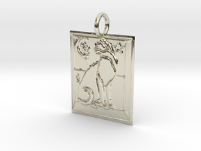 Cat View Pendant in 14k White Gold