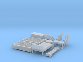 1/72nd (20 mm) scale furnitures (15 pieces) in Smooth Fine Detail Plastic