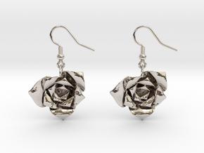 Rose Earrings in Rhodium Plated Brass