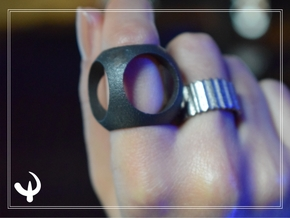 Cubic Sphere Ring Original size 8.25 in Matte Black Steel
