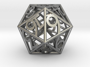 D20 Balanced - Numbers Only Heart Crit in Natural Silver