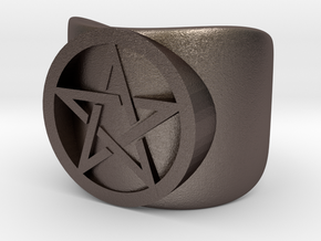 Pentacle Ring - thick in Polished Bronzed-Silver Steel: 10 / 61.5