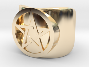 Pentacle Ring - thick in 14K Yellow Gold: 10 / 61.5