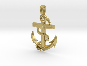 Anchor Dainty, Simple, Minimalist Necklace in Natural Brass