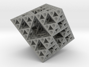 Sierpinski Octahedron Small in Gray Professional Plastic