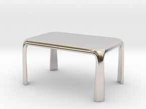 1:50 - Miniature Modern Dining Table  in Rhodium Plated Brass