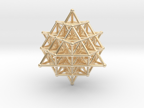 64 Tetrahedron Grid 45mm in 14k Gold Plated Brass