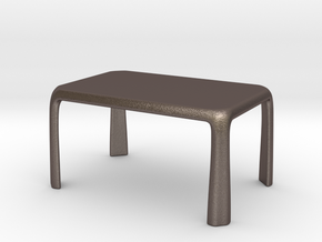 1:25 - Miniature Modern Dining Table  in Polished Bronzed-Silver Steel