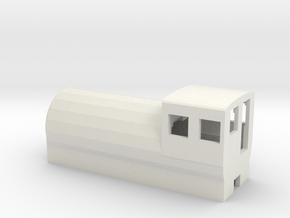 Fireless Locomotive in White Natural Versatile Plastic