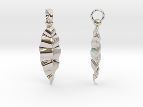 Fractal Leaves Earrings in Rhodium Plated Brass