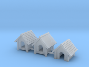 Doghouse set 1:87 H0 scale (3 unique designs) in Smooth Fine Detail Plastic