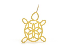 Turtle Mandala Pendant in Polished Gold Steel