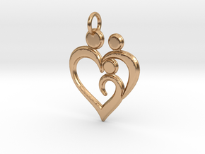 Family of 3 Heart Shaped Pendant in Polished Bronze