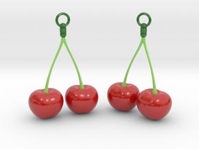 Cherry Earrings in Glossy Full Color Sandstone
