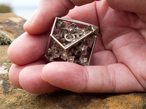 Dice of Hydra D10 in Polished Bronzed Silver Steel