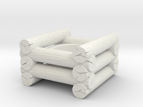 Log Candle Holder in White Natural Versatile Plastic