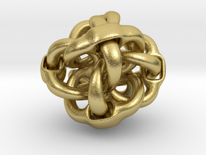Octa Eyeo - 3D Linked object in Natural Brass (Interlocking Parts)