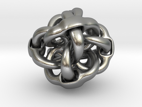 Octa Eyeo - 3D Linked object in Natural Silver (Interlocking Parts)