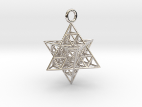 Star Tetrahedron Fractal 25mm or 32mm in Rhodium Plated Brass: Medium