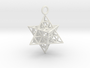 Star Tetrahedron Fractal 25mm or 32mm in White Natural Versatile Plastic: Medium