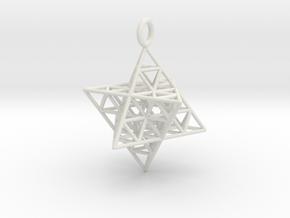 Star Tetrahedron Fractal 25mm or 32mm in White Natural Versatile Plastic: Large