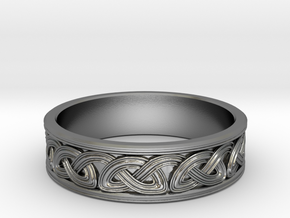 Single strand inset Celtic Knot Ring~size US 8 1/4 in Polished Silver: 8.25 / 57.125