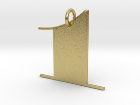 Numerical Digit One Pendant in Natural Brass