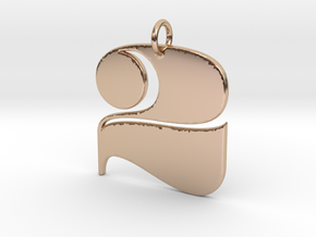 Numerical Digit Two Pendant in 14k Rose Gold