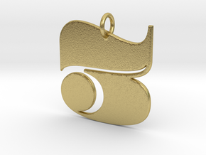 Numerical Digit Three Pendant in Natural Brass