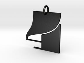 Numerical Digit Four Pendant in Matte Black Steel