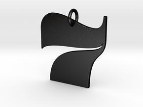 Numerical Digit Seven Pendant in Matte Black Steel