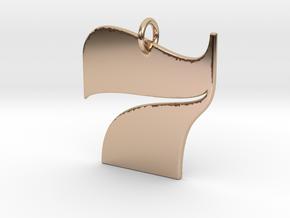 Numerical Digit Seven Pendant in 14k Rose Gold