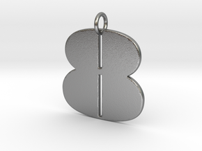 Numerical Digit Eight Pendant in Natural Silver