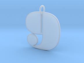Numerical Digit Nine Pendant in Smooth Fine Detail Plastic