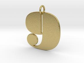 Numerical Digit Nine Pendant in Natural Brass