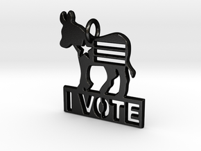 I Vote Donkey Pendant in Matte Black Steel
