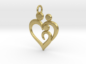 Family of 3 Heart Shaped Pendant in Natural Brass