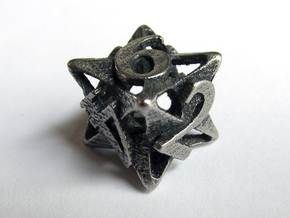 Pinwheel d6 in Polished Bronzed Silver Steel