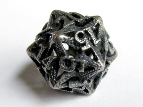 Pinwheel d20 in Polished Bronzed Silver Steel