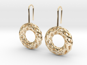 DRAGON, Omega Earrings.  in 14K Yellow Gold