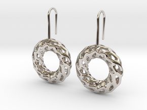 DRAGON, Omega Earrings.  in Rhodium Plated Brass