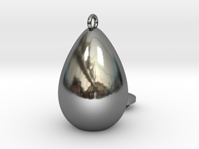 egg drop  in Fine Detail Polished Silver