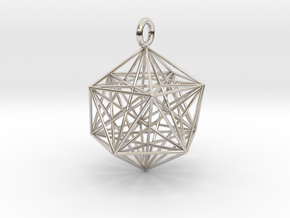 Icosahedron Dodecahedron Nest - 32mm  in Rhodium Plated Brass