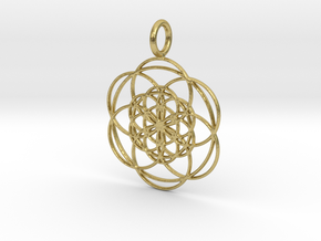 Seed of Life within Seed of Life 40mm 34mm in Natural Brass: Medium