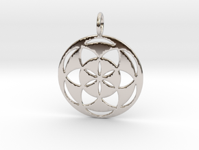 Seed of Life filled 29mm in Rhodium Plated Brass