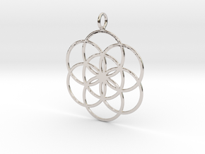 Seed of Life 45mm in Rhodium Plated Brass