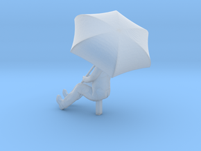 HO Scale Man with an Umbrella in Smooth Fine Detail Plastic