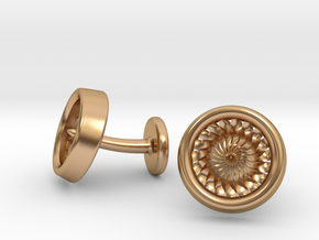 Jet Engine Turbine Cufflinks in Polished Bronze